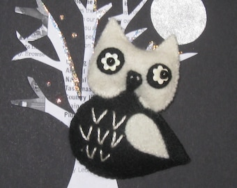 Guinness the Owl Felt Pin Brooch