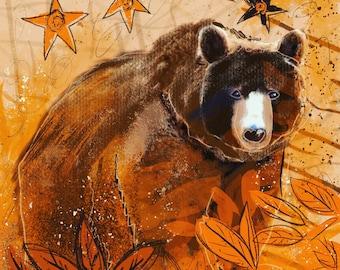 Autumn Bear Blank Card/Note Card