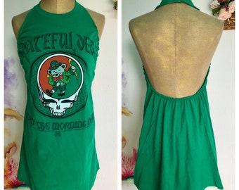 Grateful Dead T Shirt, Steal Your Face T Shirt, upcycled t shirt, reconstructed t shirt, deconstructed t shirt, t shirt halter, st patricks