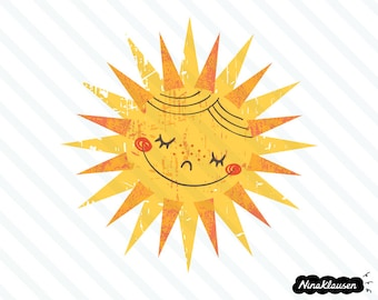 Happy retro sun vector illustration - 0023