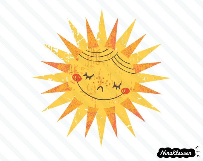 Happy retro sun vector illustration - 0023