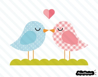 Kissing bird couple vector illustration - 0014