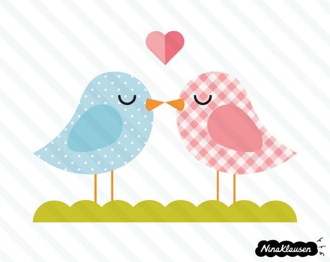 Kissing bird couple vector illustration - 0014