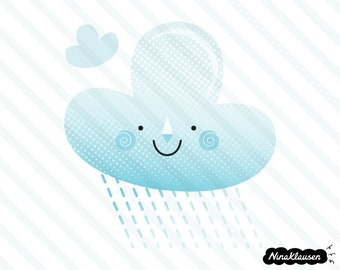 Happy rain cloud vector illustration - 0068