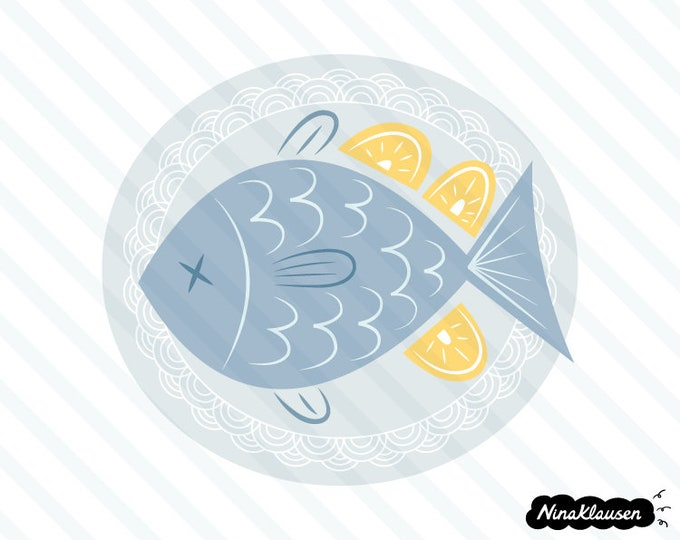 Fish on plate with lemons vector illustration - 0062