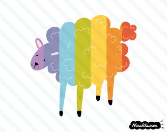 Rainbow sheep vector illustration - 0025