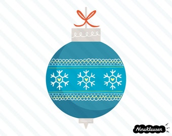 Blue Christmas bauble with snowflakes vector illustration - 0054