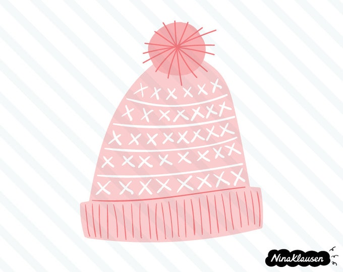Pink knitted winter hat vector illustration - 0060