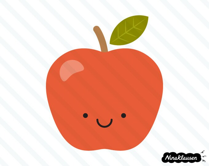 Happy red apple vector illustration - 0003