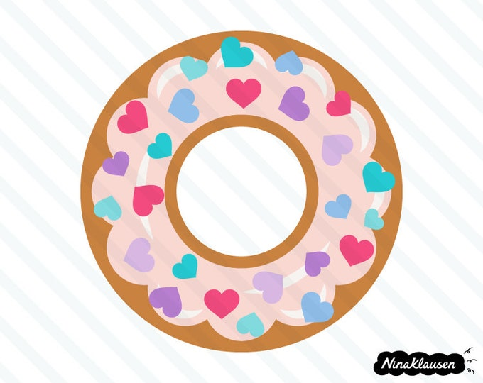 Doughnut with frosting and heart sprinkles vector illustration - 0013