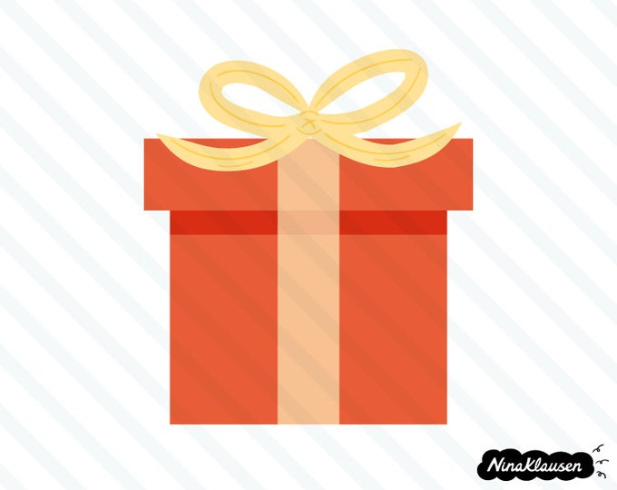 Red gift box with bow vector illustration - 0035