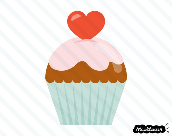 Cupcake with heart vector illustration - 0070
