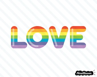 Rainbow love vector illustration - 0019