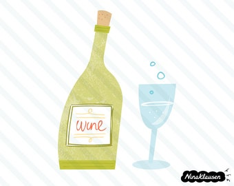 Wine bottle and glass vector illustration - 0063