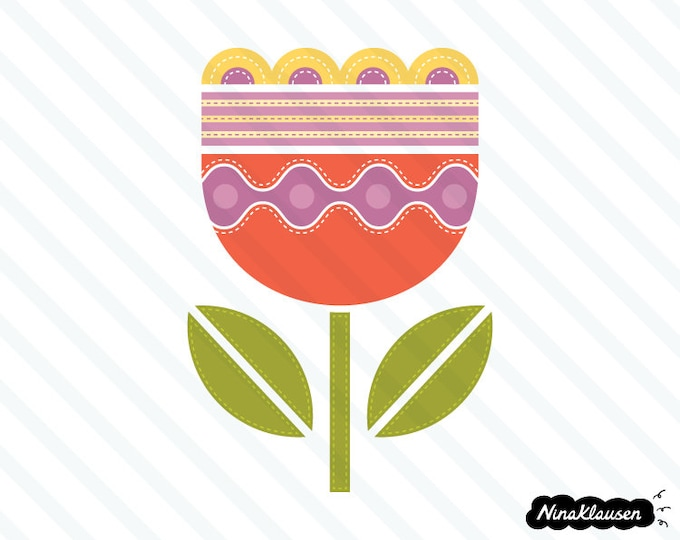 Stitched red tulip vector illustration - 0006
