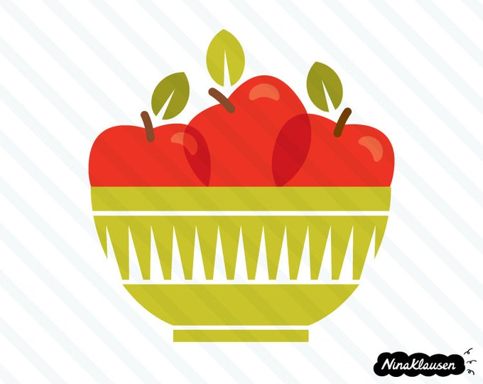 Red apples in a bowl vector illustration - 0069