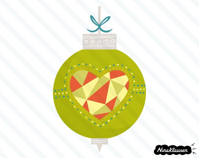 Green Christmas bauble with mosaic heart vector illustration - 0053