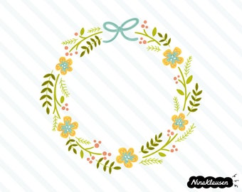 Spring flower wreath vector illustration - 0021