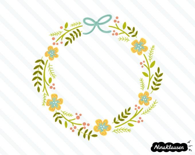 Spring flower wreath vector illustration - 0021