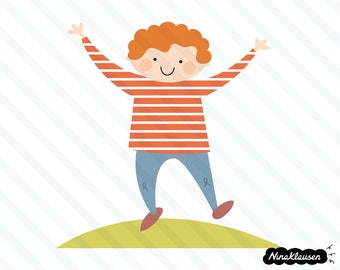 Happy jumping boy in striped sweater vector illustration - 0015