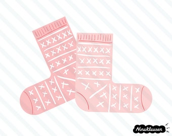 Pink knitted socks vector illustration - 0061