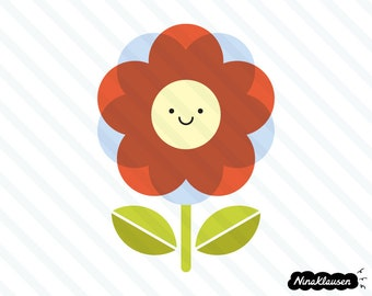 Happy red flower vector illustration - 0034