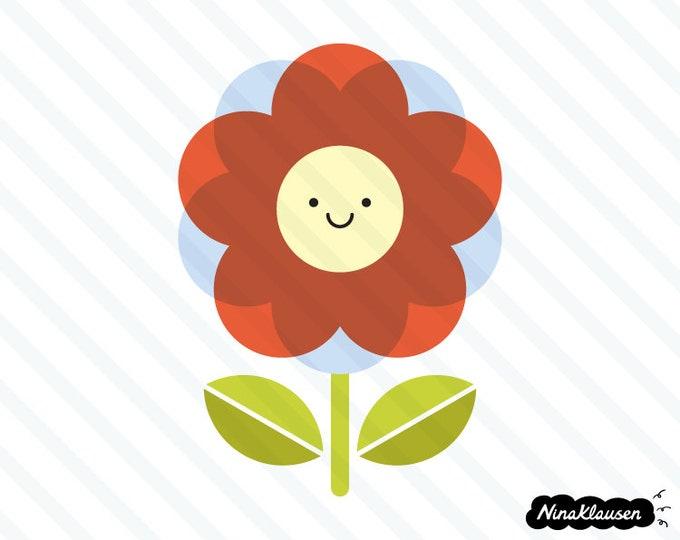 Happy red flower vector illustration - 0034