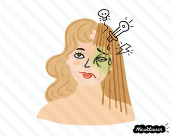 Woman having a migraine headache vector illustration - 0066