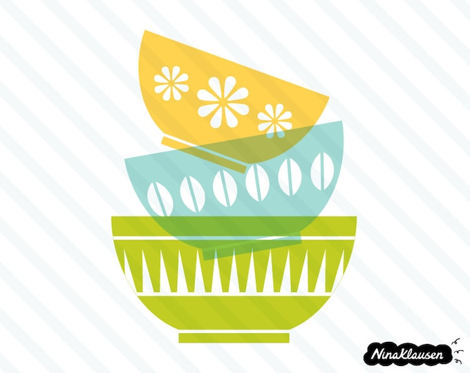 Retro bowls in a stack vector illustration - 0010