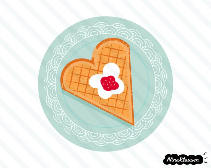 Norwegian style waffle heart on turquoise plate vector illustration - 0024