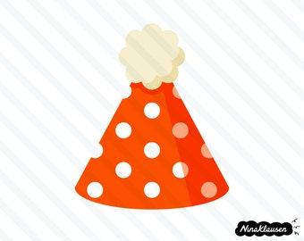 Polka dot party hat vector illustration - 0048