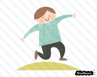 Happy jumping boy on hill vector illustration - 0052