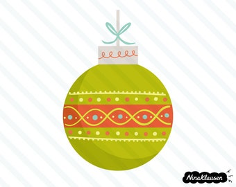 Green Christmas bauble vector illustration - 0036