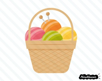 Basket with yarn vector illustration - 0044