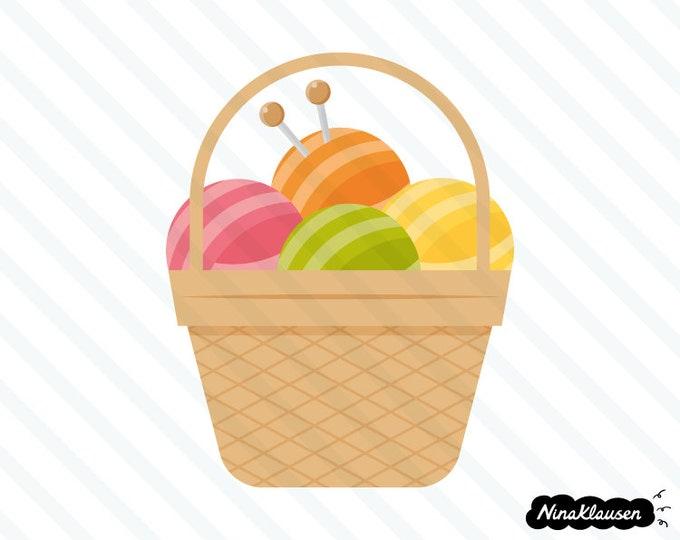 Basket with yarn vector illustration - 0044