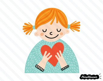 Young girl in love vector illustration - 0029