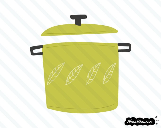 Large green pot with lid vector illustration - 0039