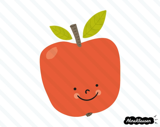 Happy red apple vector illustration - 0058