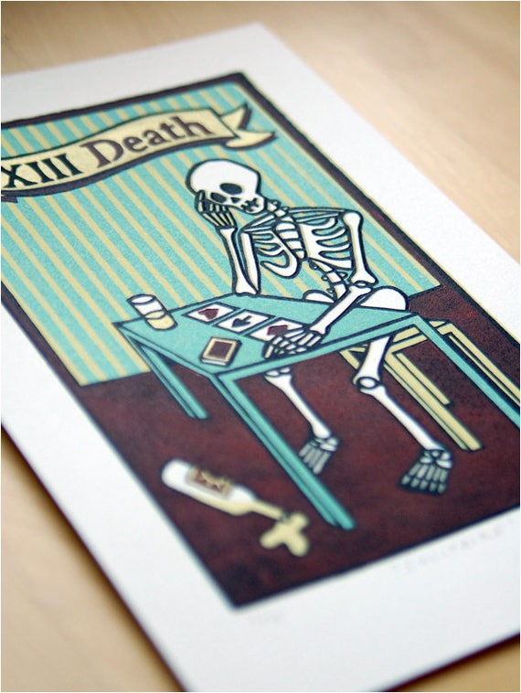 Linocut Print Solitaire - Tarot Card 13 - Death Playing Solitaire - Card Game Skeleton Bottle Lonliness