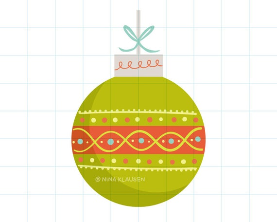 Green Christmas bauble clipart illustration - PNG + JPG - 0007