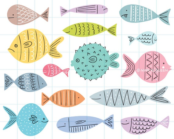 Tropical fish clipart illustrations - PNG + JPG - 0009