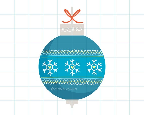 Blue Christmas bauble clipart illustration - PNG + JPG - 0017
