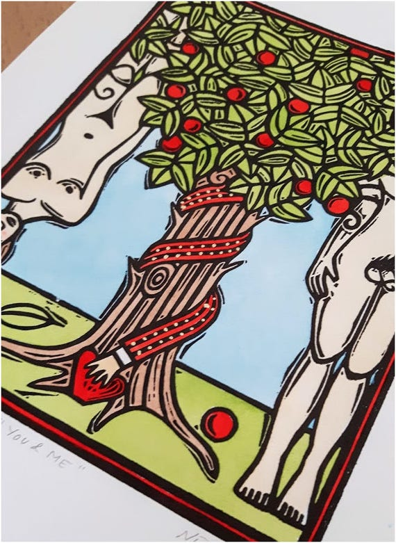 Linocut Print - You and Me - Adam and Eve in the Garden of Eden - Red Apple and Snake