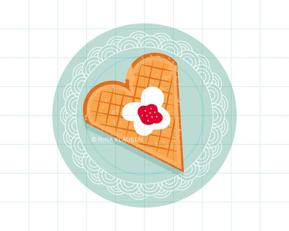 Waffle heart on plate clipart illustration - PNG + JPG - 0013
