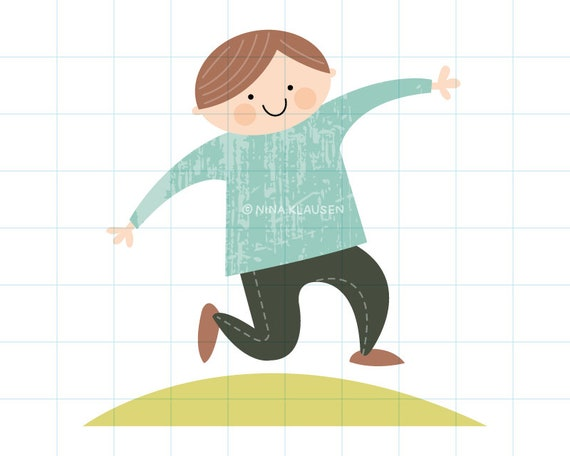 Happy boy clipart illustration - PNG + JPG - 0012
