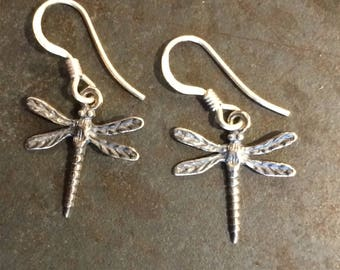 Vintage Sterling Silver Dragonfly Charm Earrings