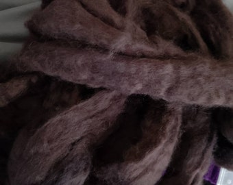 CRAZY Cashmere 100 percent hand dyed Black Combed Top  spinning fiber fibre 1 oz