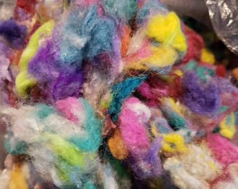 CRAZY Silk Noil 100% Hand Dyed Blend Spin Paper Making Fusion Texture MULTICOLOR 14 grams