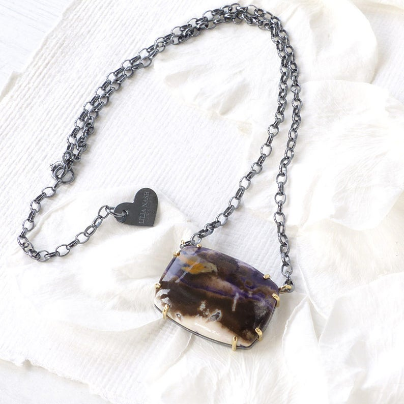 6572224a0 Tiffany Stone Necklace Sterling Silver and 18k gold One of a   Etsy