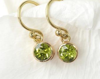 Peridot Earrings in 18ct Gold   August Birthstone   Handmade in the UK